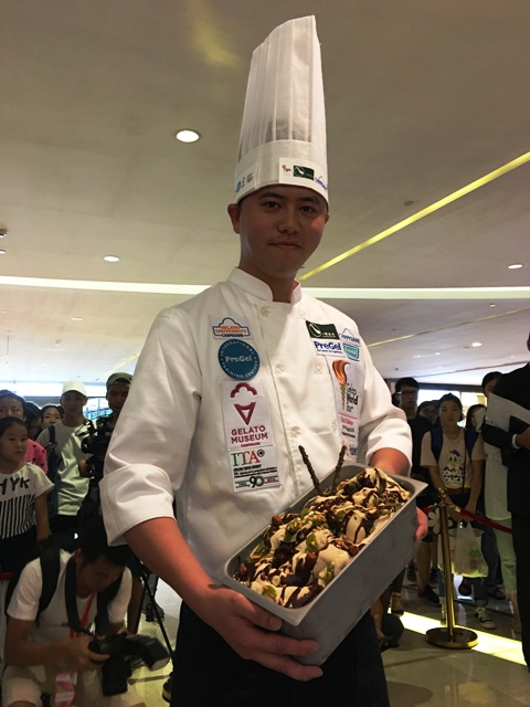 """1st Place: """"Pure Sensation"""" by He Qingxia, Fujian,  Ribbons of soft hazelnut gelato enriched by a velvety chocolate-hazelnut cream with crunchy mini puffs."""